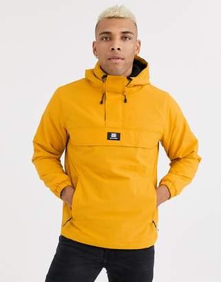 Bershka overhead jacket with fleece lining in yellow