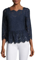 Joie Koda Lace 3/4-Sleeve Peplum Top