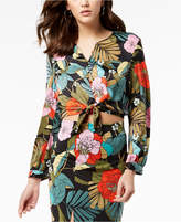 GUESS Simona Floral-Print Tie-Hem Blouse