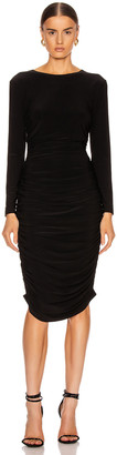 Norma Kamali Long Sleeve Shirred Dress in Black | FWRD
