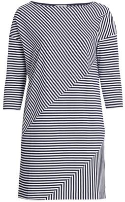 Joan Vass, Plus Size Striped Contrast Dress
