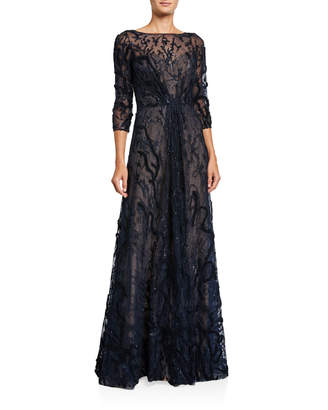 Rene Ruiz Collection Embellished Bateau-Neck 3/4-Sleeve A-Line Illusion Gown