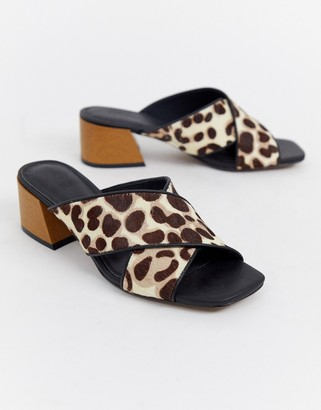 Asos Design DESIGN Tiana leather premium mule sandals in leopard print