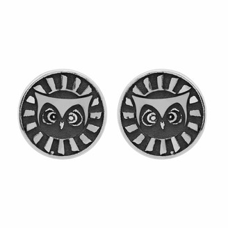 Tishavi Solid .925 Sterling Silver Ancient Owl Symbol Plain Silver Stud Earrings for Women