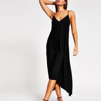 River Island Womens Black hanky hem midi slip dress