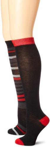 Anne Klein Women's Multi Stripe 2-Pack Premium-Blend Knee-High Socks