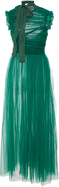 Rochas Sleeveless Draped Silk Chiffon Long Dress