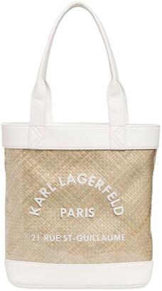 Karl Lagerfeld Paris Straw & Pvc Beach Bag