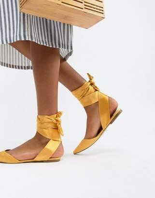 Asos Design DESIGN Libbie tie leg pointed ballet flats-Yellow