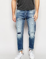 Jack and Jones Light Wash Slim Fit Rip & Repair Jeans
