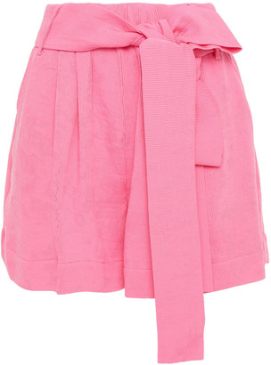 STAUD Belted Plisse-crepe Shorts