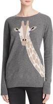 Aqua Cashmere Giraffe Intarsia Cashmere Sweater