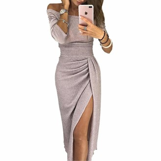 Danny Queen Women Off Shoulder Dress Glitter Ruched Thigh Slit Vintage Cocktail Dresses Elegant Maxi Evening Gowns for Party Clubbing Wedding Red