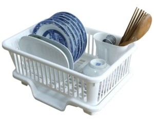 Basicwise Vintiquewise Plastic Dish Rack with Drain Board and Utensil Cup