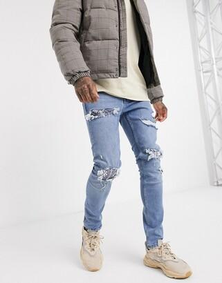 Topman skinny jeans with bandana rip & repair