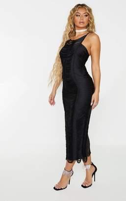 PrettyLittleThing Black Tassel Detail Cross Back Midaxi Dress