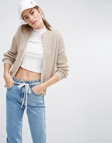 Daisy Street Oversized Zip Sweater In Rib
