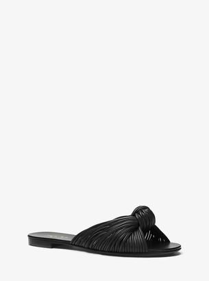 Michael Kors Serena Knotted Leather Slide Sandal