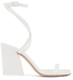 HUGO BOSS Strappy Leather Sandals With Flared Block Heel - White