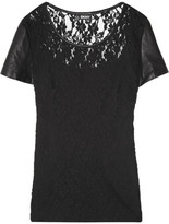 DKNY Leather-sleeved cotton-blend lace top