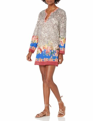Johnny Was Women's Animal Cover up with Floral Printed Trim