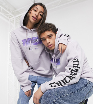 Crooked Tongues unisex oversized hoodie in washed gray