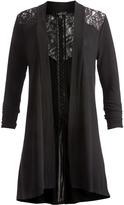 August Silk Black Kimono Lace-Up Back Open Cardigan