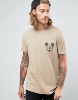 Asos T-shirt With Mickey Mouse Face Chest Print In Relaxed Skater Fit
