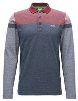 Hugo Boss Long-sleeved slim-fit polo shirt in mouliné cotton with stripe print
