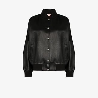 Plan C Contrast Back Leather Varsity Jacket