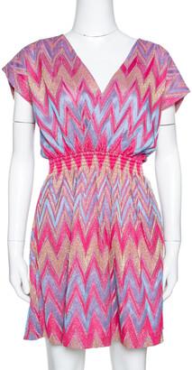 M Missoni Pink & Blue Lurex Zig Zag Knit Mini Dress M