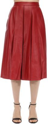 Alexander McQueen Flared Leather Midi Skirt