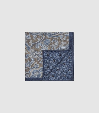 Reiss BALOTTELI SILK DOUBLE SIDED POCKET SQUARE Airforce Blue