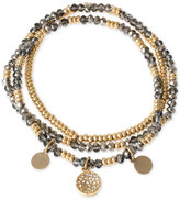 Kenneth Cole New York Gold-Tone Beaded Disc Multi-Layer Stretch Bracelet