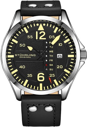 Stuhrling Original Men's Aviator Black Leather Watch