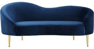 Everly Ayva Curved Loveseat Quinn Upholstery Color: Navy