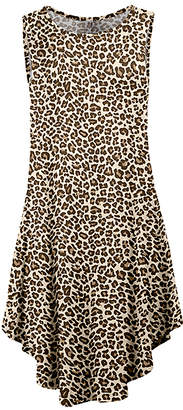 Lily Women's Casual Dresses BRN - Brown Leopard Curved-Hem Sleeveless Dress - Women & Plus