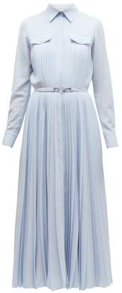 Gabriela Hearst Erella Pleated Wool Blend Shirtdress - Womens - Blue
