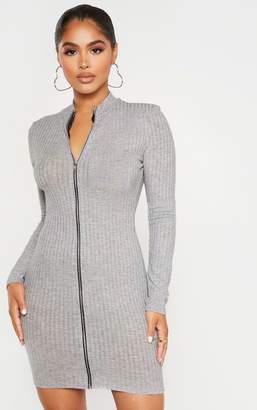 PrettyLittleThing Petite Black Zip Up Long Sleeve Mini Dress