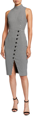 Black Halo Sofie Houndstooth Sleeveless Sheath Dress