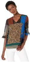 Calvin Klein V-Neck Blouse with Poof Sleeve (Cobalt Multi) Women's Clothing