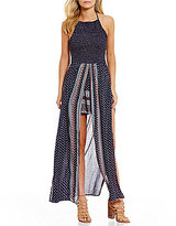 Angie Placement-Print Smocked Halter Neck Maxi Romper