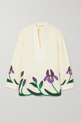 Tory Burch - Iris Embroidered Appliqued Linen Tunic - Ivory