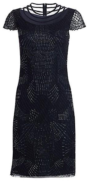 Joanna Mastroianni Short Sleeve Ilusion Cocktail Dress