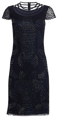 Joanna Mastroianni Short Sleeve Ilusion Cocktail Dress