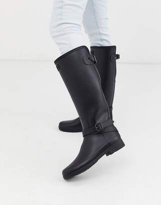 Hunter Orignal Refined Tall Wellington Boots with ankle strap in black