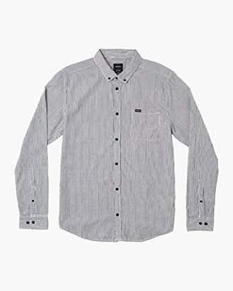 RVCA Men's Endless Seersucker Long Sleeve Woven Button Front Shirt