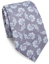 Isaia Printed Silk & Wool Tie