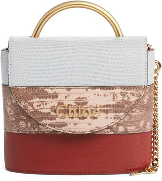 Chloé Aby Lock Colorblock Reptile Embossed Leather Crossbody Bag
