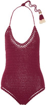 She Made Me Essential Crocheted Cotton Swimsuit - Claret